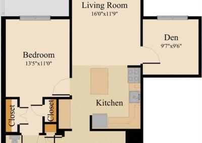 One Bedroom with Den, Alt.