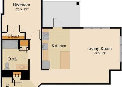 One Bedroom Corner Unit