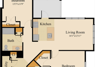 One Bedroom Corner Unit