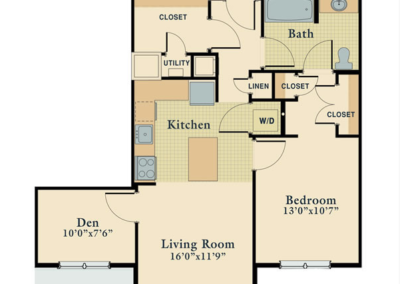 One Bedroom Den Unit